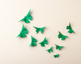 3D Wall Butterflies: Kelly Green Butterfly Silhouettes for Home Art Decor, Nursery, Children's Room
