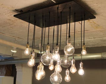 Industrial Chandelier With Vintage Bulbs & Your Choice of Base Colors