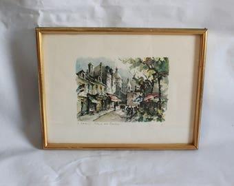 Vintage framed print street scene, was 20, now 15 euros! Paris Sacré Coeur artists 1950s impressionist