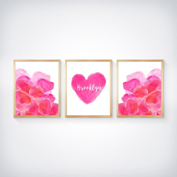 Modern Watercolor Print Set for Girls, Set of 3-8x10 Hot Pink Watercolor Flowers and Personalized Heart