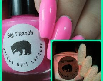Glow-in-the-Dark Nail Polish - Pink - SUNRISE - FREE U.S. SHIPPING - Nail Polish/Lacquer - Regular Full Sized Bottle (15 ml size)