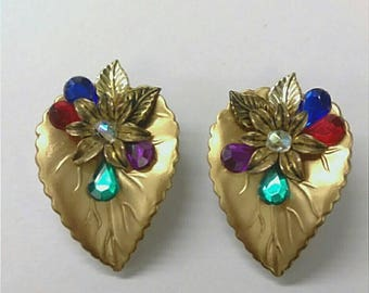 VINTAGE Gold Floral and Leaf Earrings,  Rainbow Leaf  Earrings, Nature Jewelry, Accessories, Fashion Jewelry, Boutique