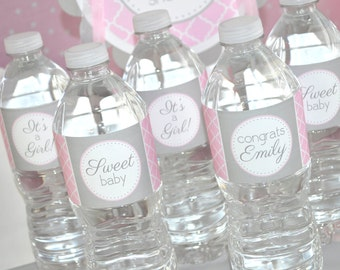 Perfect Girls Baby Shower Water Bottle Labels   Itu0027s A Girl Baby Shower Decorations    Pink And Gray   Set Of 10
