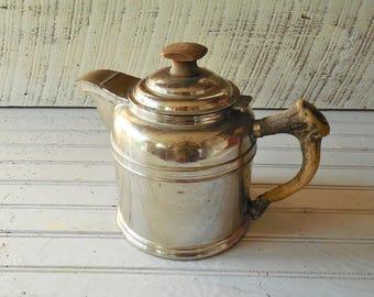 Deer Antler Coffee Pot - Stag Horn Handle Vintage Deer Camp Rustic Cabin & Lodge  Coffee Pot Rome Ware #4/ 0676