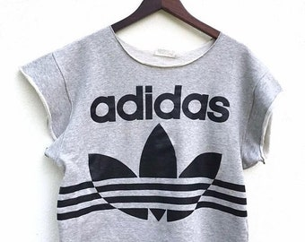 20% Off Vintage Adidas Sweatshirt 90's Big Logo Hip Hop Adidas Women Cropped Sweater Adidas Streetwear Windbreaker fit sz M