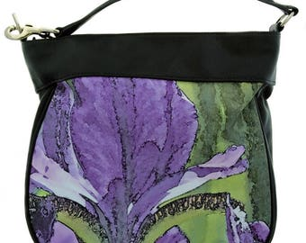 LEATHER HOBO HANDBAG - Women's Floral Purse - Leather Strap and Trim - Art Bag - Abstract Photography. Shown in Purple Iris Image. Design.