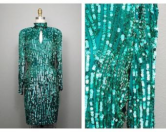 DAZZLING Jade Green Sequin Dress / Emerald Beaded Sequined High Neck Long Sleeved Trophy Dress US 14
