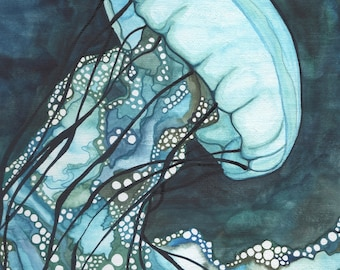 Aqua Sea Nettle JELLYFISH 5 x 7 print of detailed watercolour artwork, marine sea beach decor ocean water nautical whimsical magic tentacles