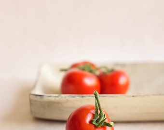 Ripe tomatoes on the vine in shabby chic tray, Plump red vibrant fruit Fine art food photography, Kitchen wall art, Home Decor