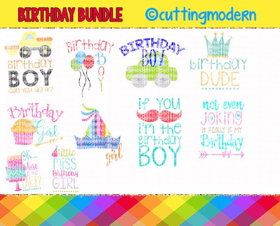 Birthday Svg Cut File Bundle Png Included 10 Files