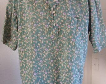 Vintage 1980s REYN SPOONER Brand Men's Hawaiian XL shirt Made in Hawaii Aloha shirt Tiki Pullover Button down Collar