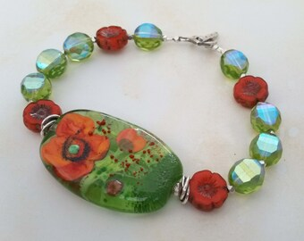POPPY - Artisan Lampwork Glass Bead Bracelet with Fine Silver