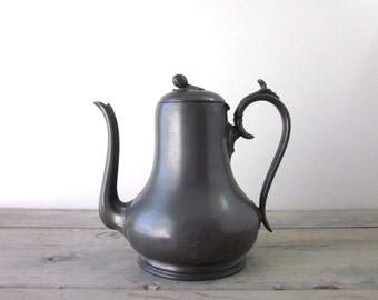 Vintage Pewter Coffeepot Teapot with Acorn Finial Ashberry & Sons
