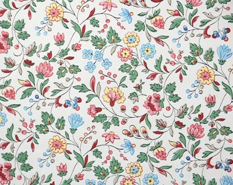 1940s Vintage Wallpaper by the Yard - Floral Chintz Wallpaper Pink Blue and Yellow Flowers on White