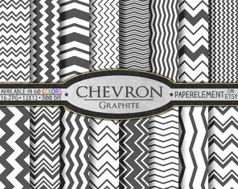 Graphite Gray Digital Paper Pack - Instant Download - Printable Paper with Chevron Pattern for Digital Scrapbooking