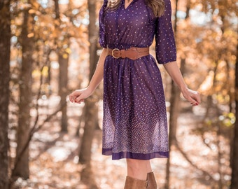 Vintage Sheer Purple Grape Floral Dress (Size Small)