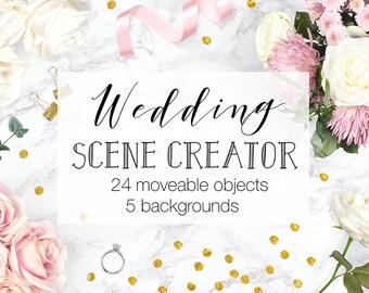 Wedding Scene Creator, Top View Wedding Photography, Moveable Mockup, Includes Frame & Card Mockups, Wedding Mockup Creator, Commercial Use