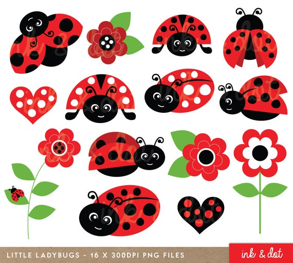 ladybugs clipart cute ladybirds red garden spring bugs rh etsy com ladybug clip art borders ladybug clip art free black and white
