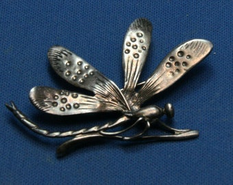 Vintage 925 Sterling Silver Damselfly Dragonfly Pin Brooch - Fabulous!