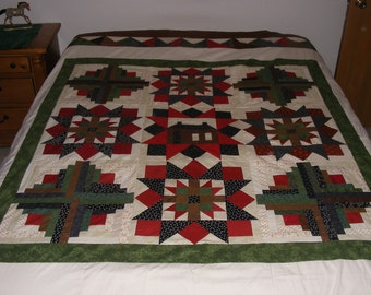 "Unfinished unquilted 100% cotton quilt top, wall hanging or decoration approx. 96"" X 96""  all cotton"