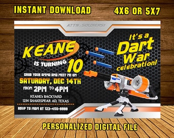 Nerf Gun Invitation/ Nerf Gun Birthday /Nerf Gun Party/ Nerf Gun Invite/ Nerf Birthday Invitation/ Nerf Party Invite/ F1201