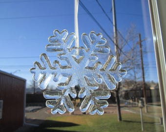Snowflake, fused glass, clear, ornament, decoration, Hollidays, Christmas, home decor (#91, #92)
