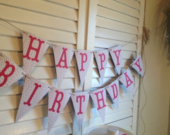 Cheerful, Colorful Happy Birthday. Multi-Color Pennant Banner