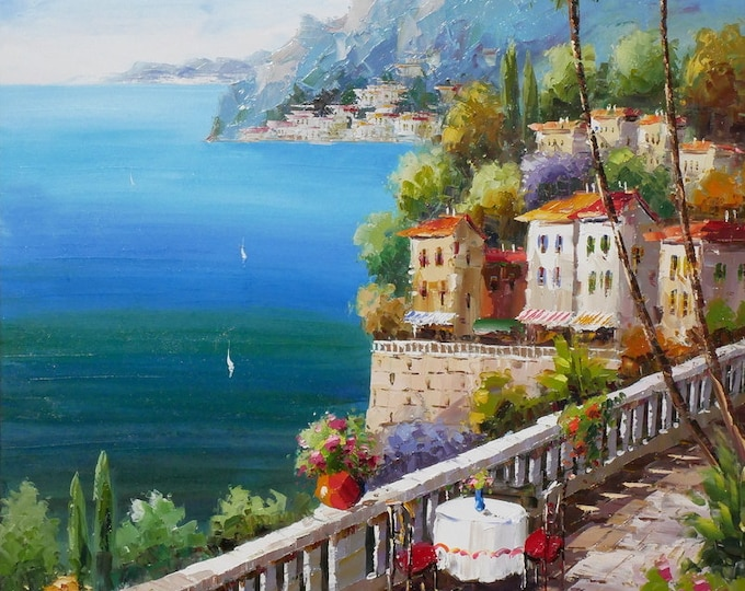 Coastal Italy Art Mediterranean Painting Handmade Oil on Canvas Wall Art Beautiful Decor