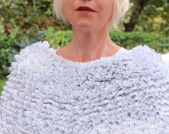 White cape with silver thread, white wedding capelet, white capelet, knitted  wedding capelet