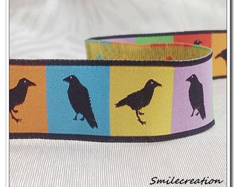 5 Metters stripe Jacquard Ribbon farbenmix bird 20 mm REF 2008