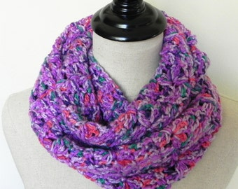 Crochet infinity scarf multi-color crochet cowl scarf is ready to ship, circle crochet scarf