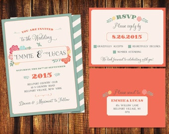 Wedding Invitation and RSVP Card - Festive Colors and Flowers  - Printable or Print Options