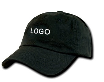 Custom Logo Embroidered Baseball Cap, Your Own Personalized Hat Custom Hat on a REGULAR BASEBALL CAP