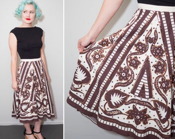 50's Style White & Brown With Bronze Sequin Mexican Circle Skirt | Size Large