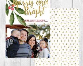 "Photo Christmas Card: Merry & Bright // 5x7"" printable"