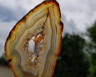 Copper petal real flower agate