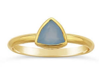 Chalcedony ring, Gold ring, Aqua stone, gemstone ring, stacking ring, ethical ring, sustainable jewelry, Green Jeweler