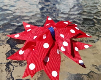 Red white and blue hair bow. Gifts for girls. Patriotic hair bows.
