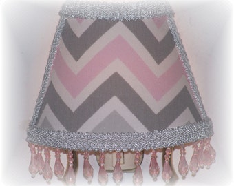 New Pink White & Gray CHEVRON NIGHT LIGHT with Pink Beaded Fringe
