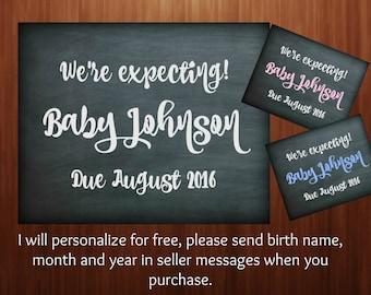 Digital download, We're expecting, pregnancy announcement, digital sign, printable, facebook, social media 8x10 or 16x20
