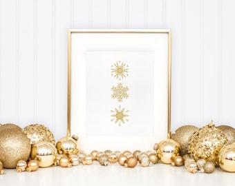 Gold Snowflakes Printable, Winter home decor, Christmas home decor, Snowflake art print, Holiday decor, Winter Print, Christmas Printables