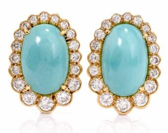 Vintage Diamond Turquoise 18K Gold Clip-back Earrings