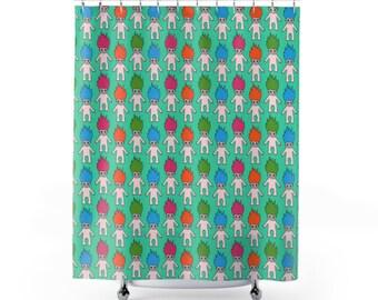 90's Troll Shower Curtain - 3 Colors Troll Shower Curtain - 90's Kid Gift - 90's Nostalgia - 90's Bathroom - Girl's Bathroom - Kid's Room