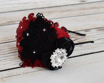 Handcrafted Red and Black 1920s Style Feather Headband - Vintage Adult Headband - Fancy Wedding Accessory - Romantic Headpiece - Black Rose