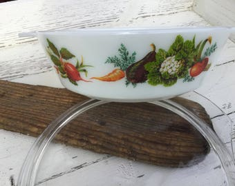 Vintage JAJ Pyrex Tuscany Market Garden casserole with lid