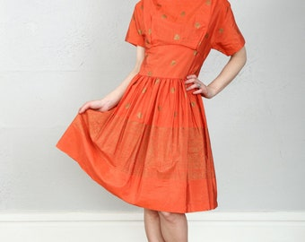 1960s Orange & Gold Dress