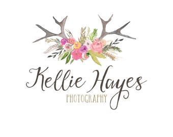 Premade Watercolor Logo - Antler and Flowers Logo -  Photography Logo and Watermark Design - Boutique Logo & Branding