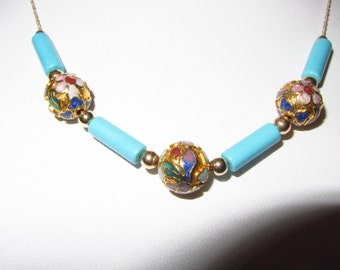 "10k Solid Gold AA Sleeping Beauty Turquoise, Chinese Cloissone Beads and 10k Gold Beads Necklace 16"".  6.58g"