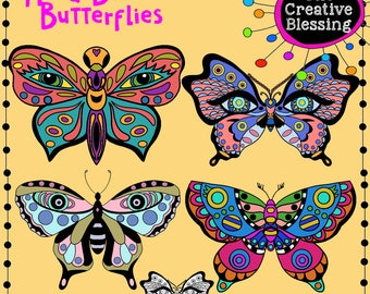 Hand Drawn Butterfly Clip Art