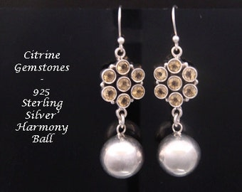 Harmony Ball Earrings Featuring 7 Citrine Gemstones and Highly Polished Sterling Silver Harmony Ball | Pregnancy Gift, Silver Earrings 026